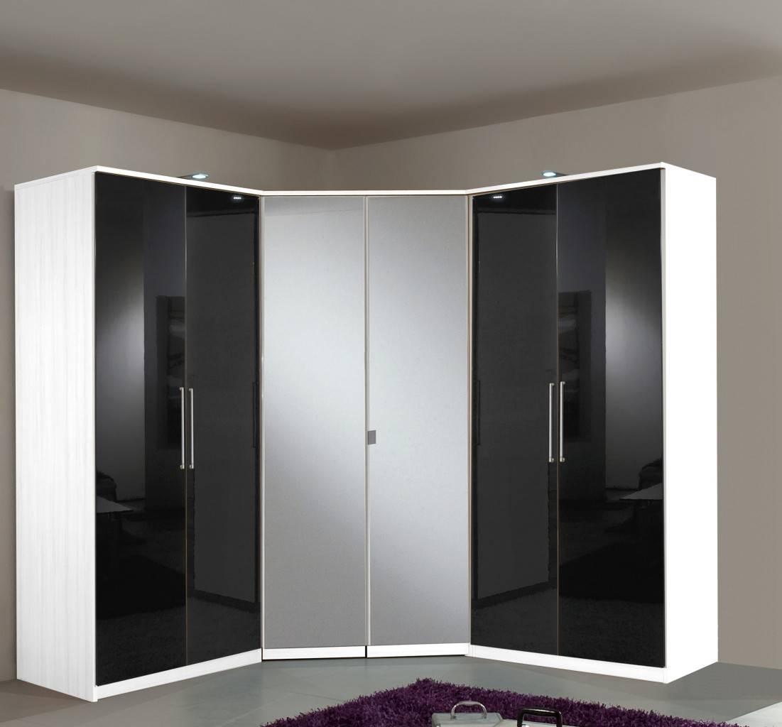 Berlin 6 Door Corner Wardrobe Set High Gloss Black And White Furniture throughout Black And White Wardrobes Set (Image 4 of 15)