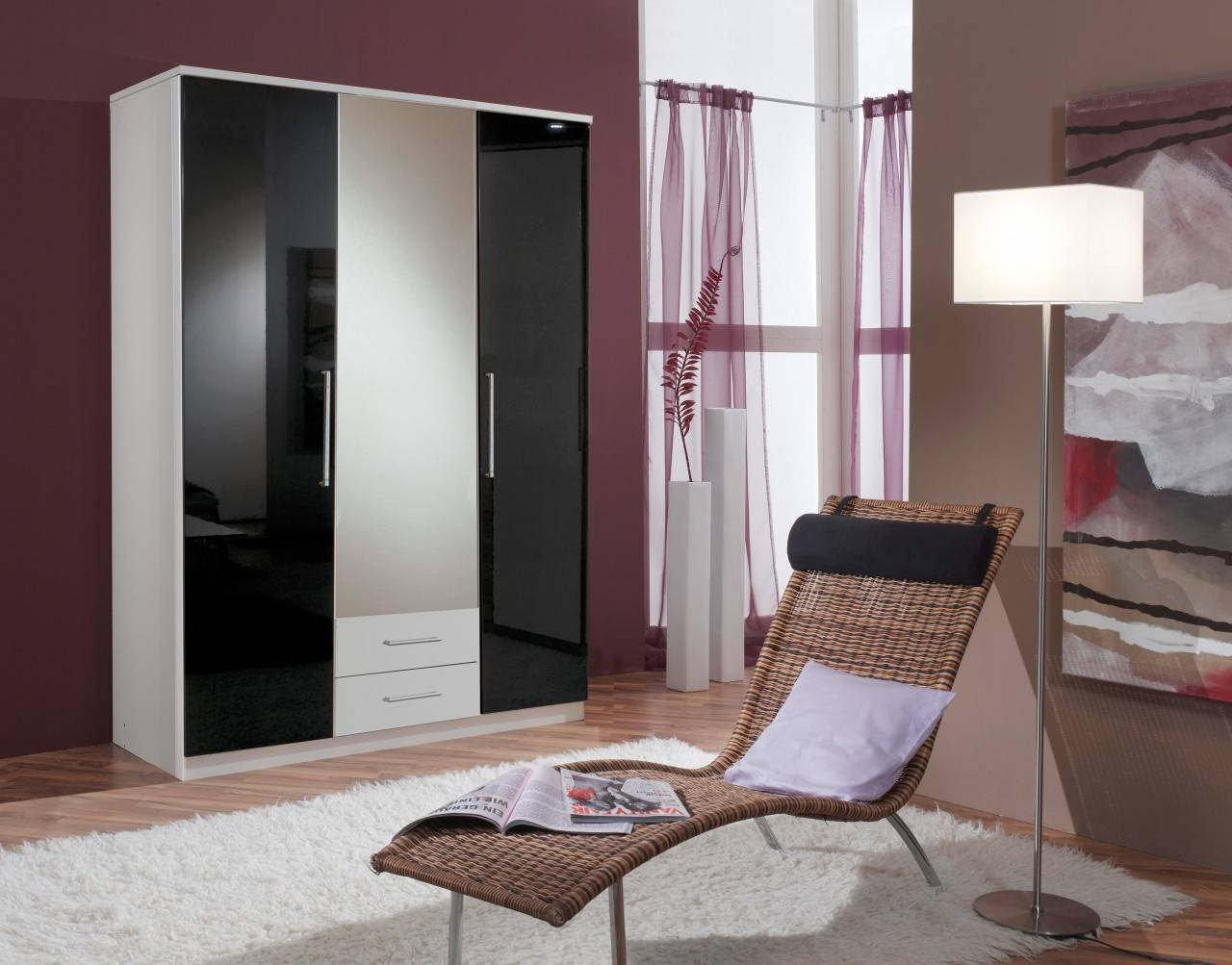 Berlin High Gloss Black And White Wardrobe 3 Doors With 2 Drawers within Black High Gloss Wardrobes (Image 3 of 15)