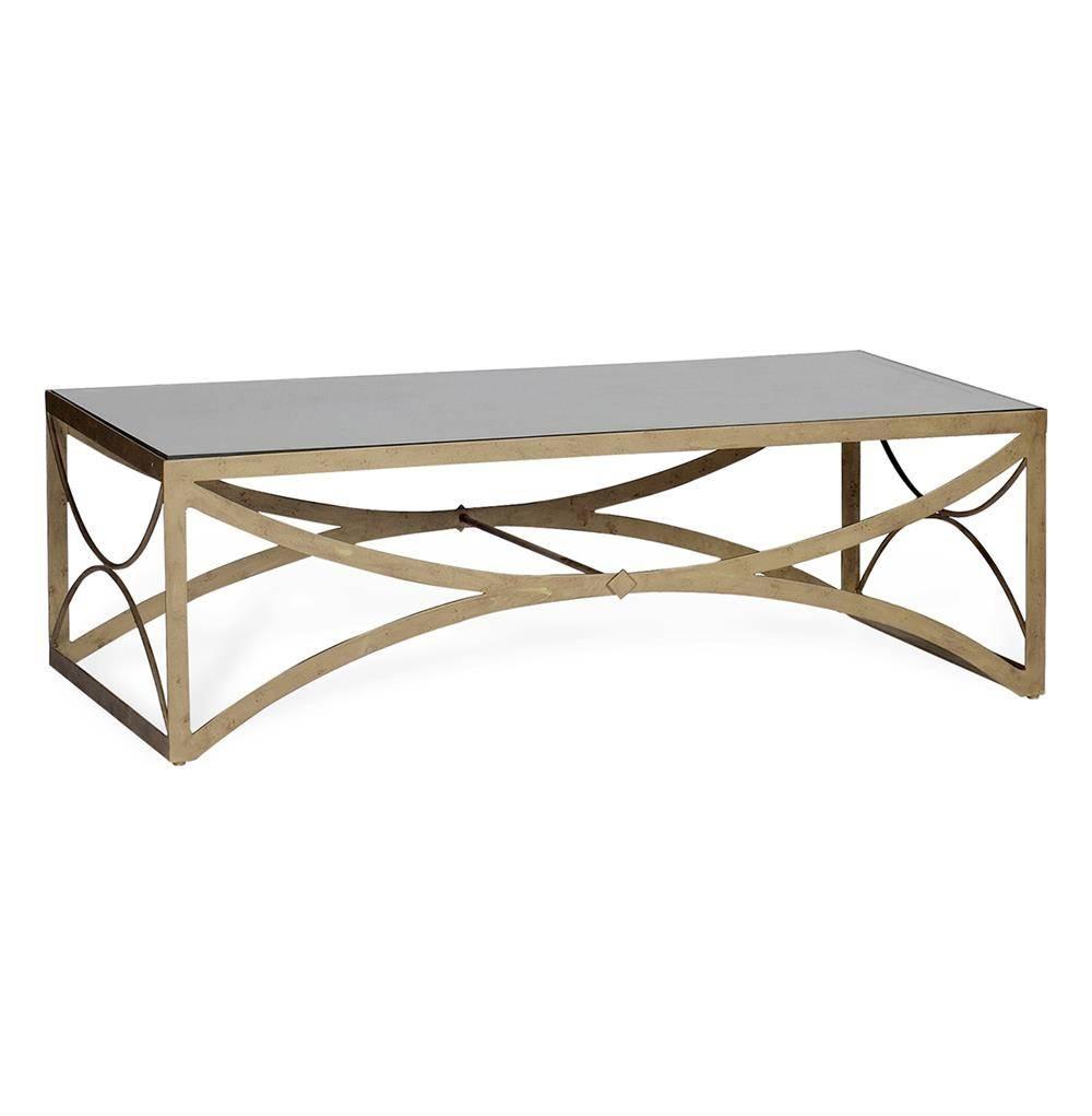 Bernard Hollywood Regency Antique Brass Leaf Mirrored Coffee Table For Antique Mirrored Coffee Tables (View 24 of 30)