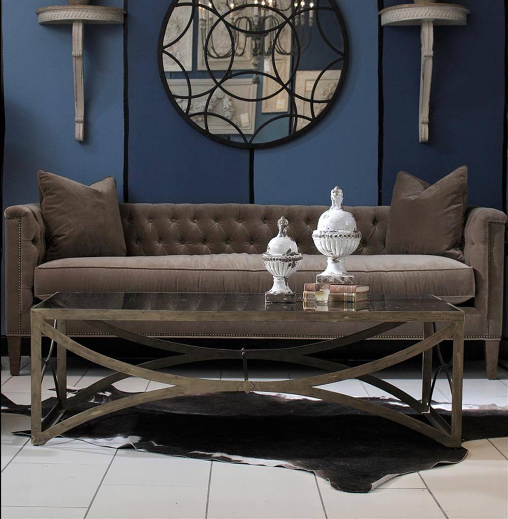 Bernard Hollywood Regency Antique Brass Leaf Mirrored Coffee Table with Antique Mirrored Coffee Tables (Image 7 of 30)