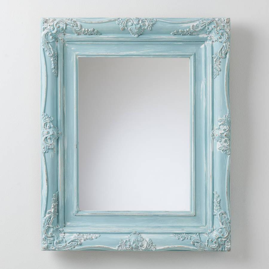 Bespoke Hand Painted Mirror In Farrow And Ball Paintshand in Mirrors With Blue Frame (Image 5 of 25)