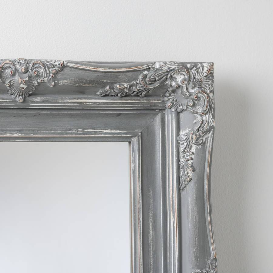 Bespoke Hand Painted Mirror In Farrow And Ball Paintshand pertaining to Grey Vintage Mirrors (Image 5 of 25)
