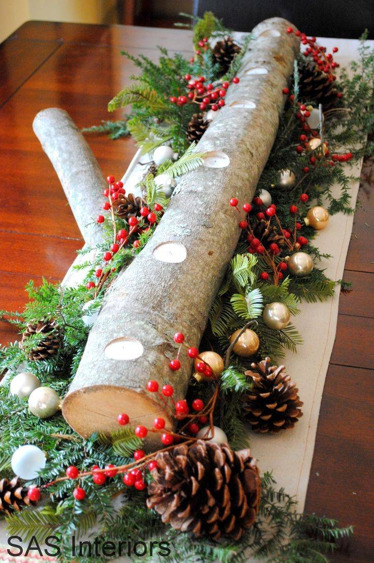 Best 25+ Log Centerpieces Ideas Only On Pinterest | Silver Wedding Intended For Rustic Christmas Coffee Table Decors (View 27 of 30)