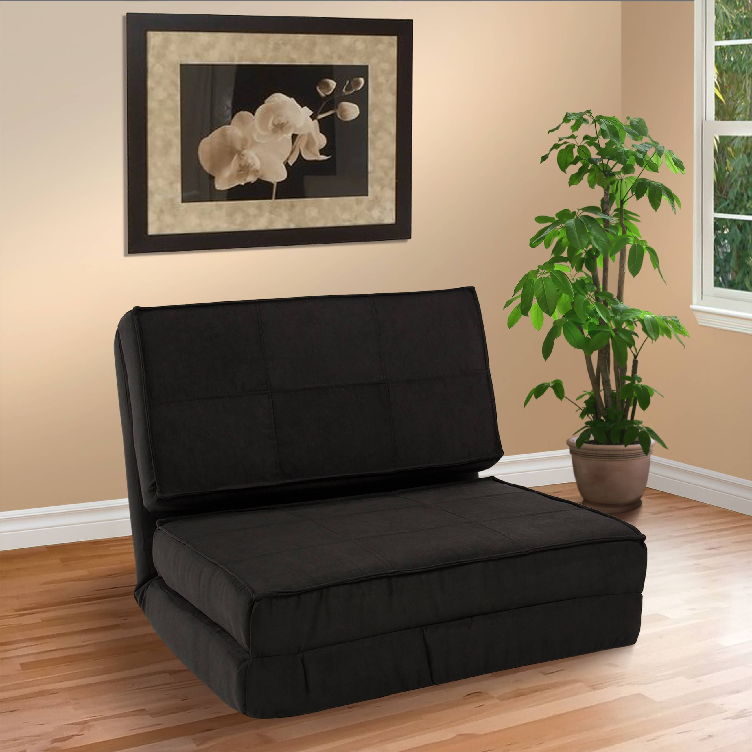 Best Choice Products Convertible Sleeper Chair Bed (Black with Folding Sofa Chairs (Image 7 of 30)