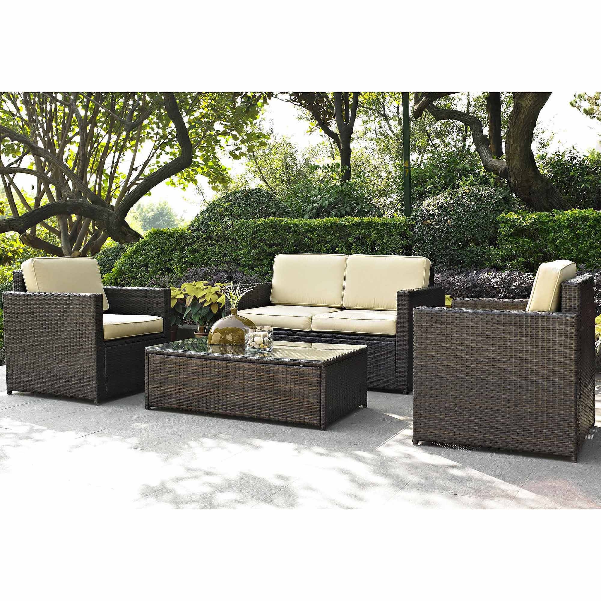 Best Choice Products Outdoor Garden Patio 4Pc Cushioned Seat Black pertaining to Sofa Table Chairs (Image 7 of 30)