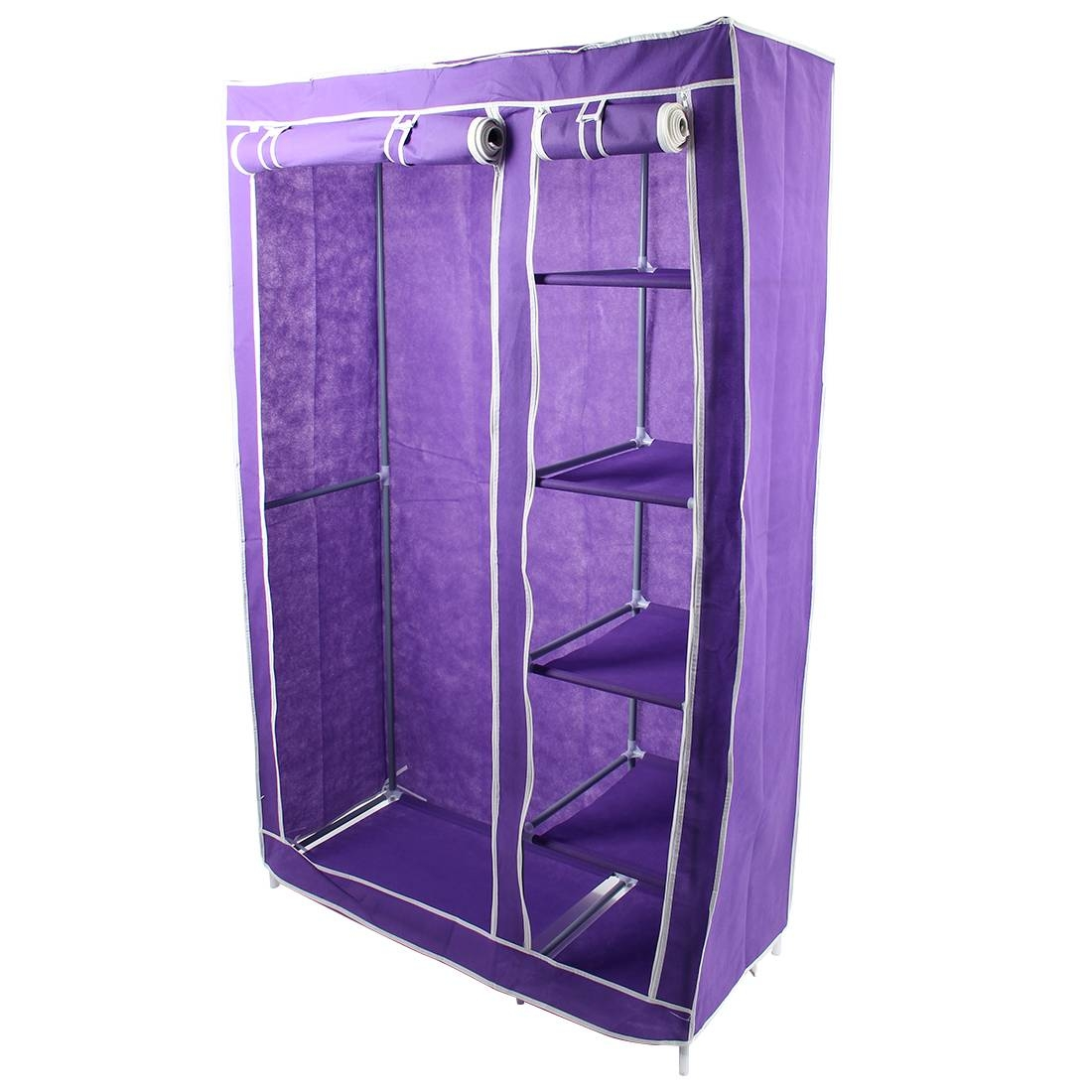 Best Foldable Double Canvas Wardrobe Clothes Rail Hanging Storage for Double Canvas Wardrobe Rail Clothes Storage Cupboard (Image 4 of 30)