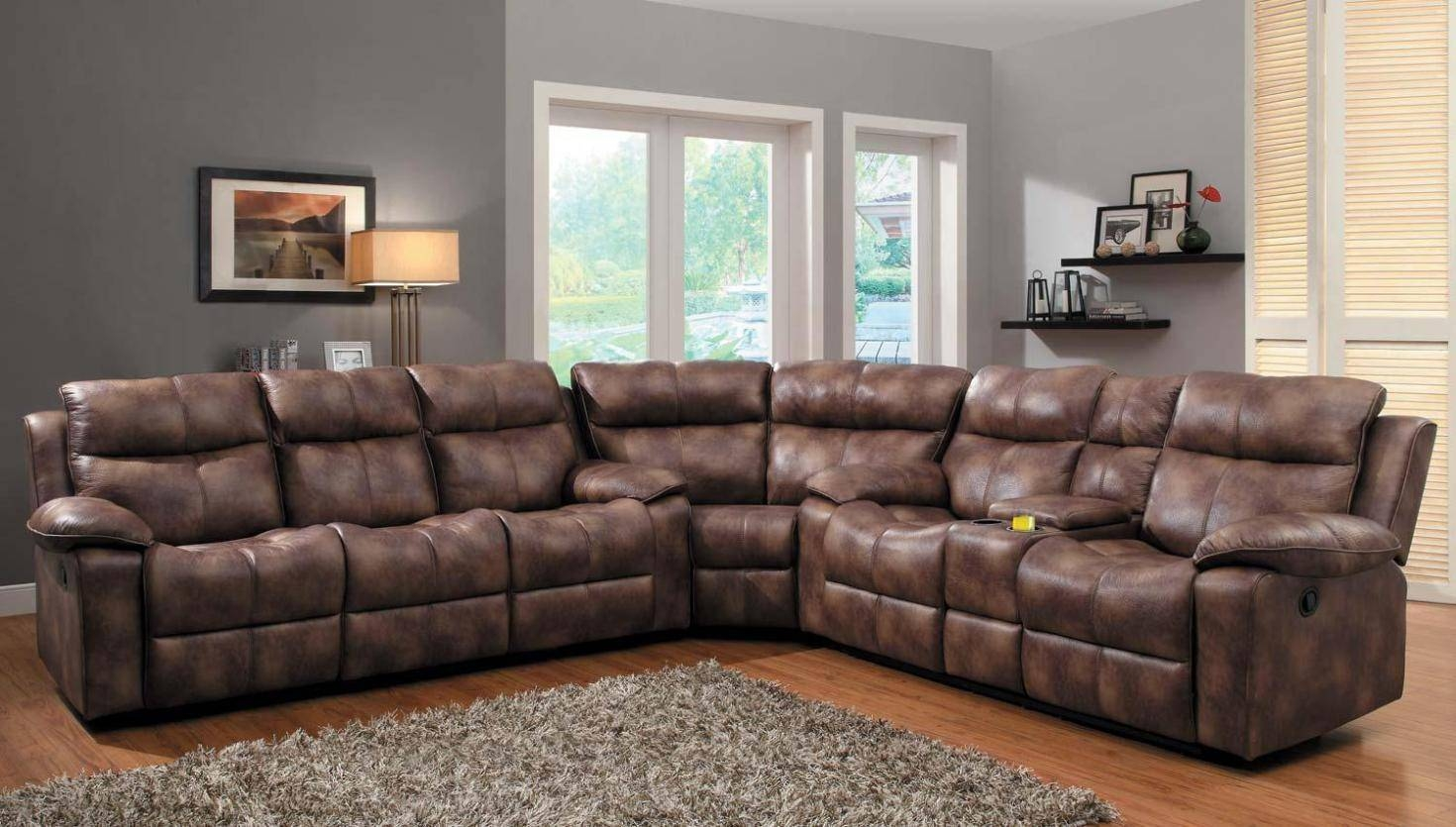 Best Slipcovers For Reclining Sectional Sofas In Jedd Fabric Reclining Sectional Sofa (Image 1 of 30)