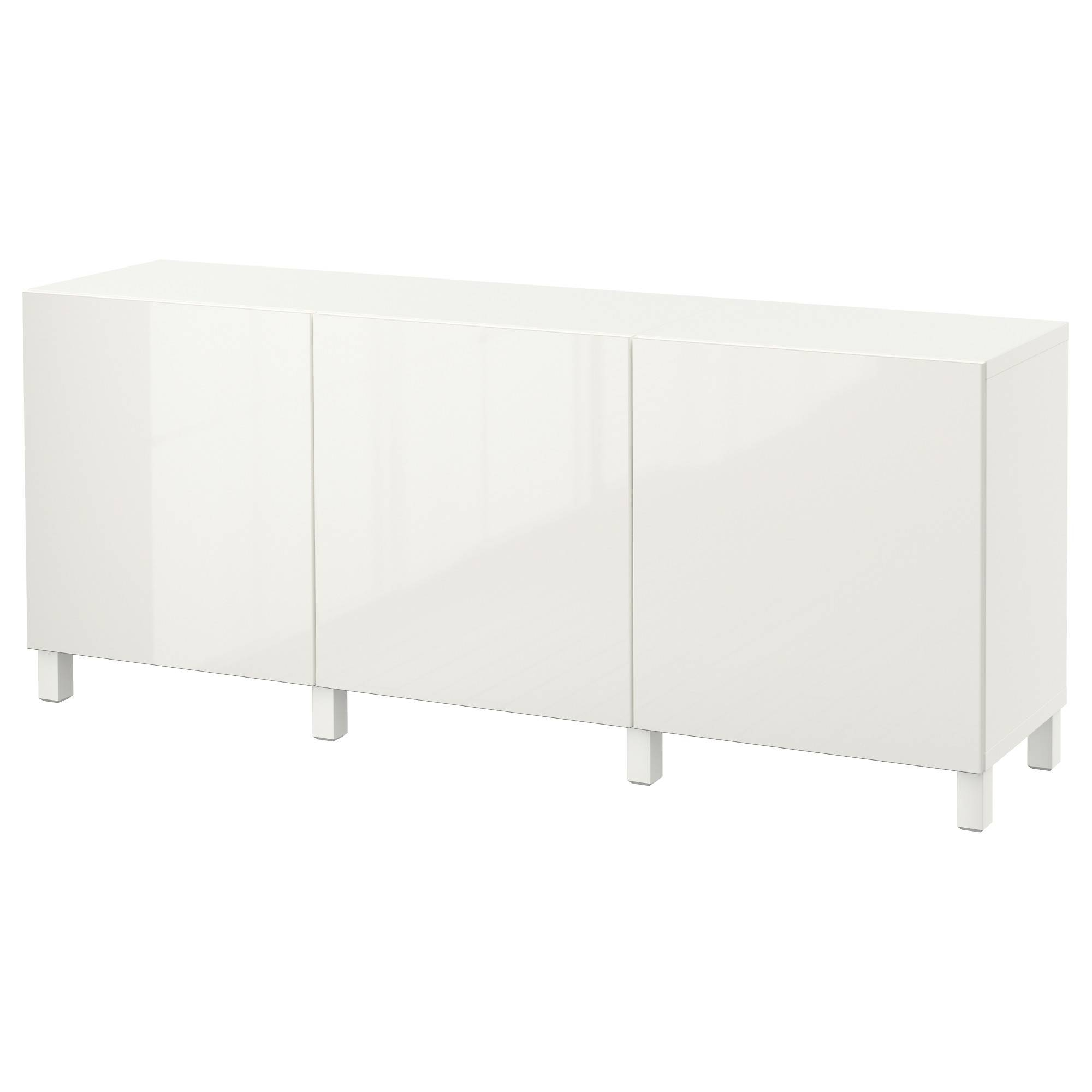 Bestå Storage Combination With Doors - White/selsviken High-Gloss with High Sideboards (Image 2 of 30)
