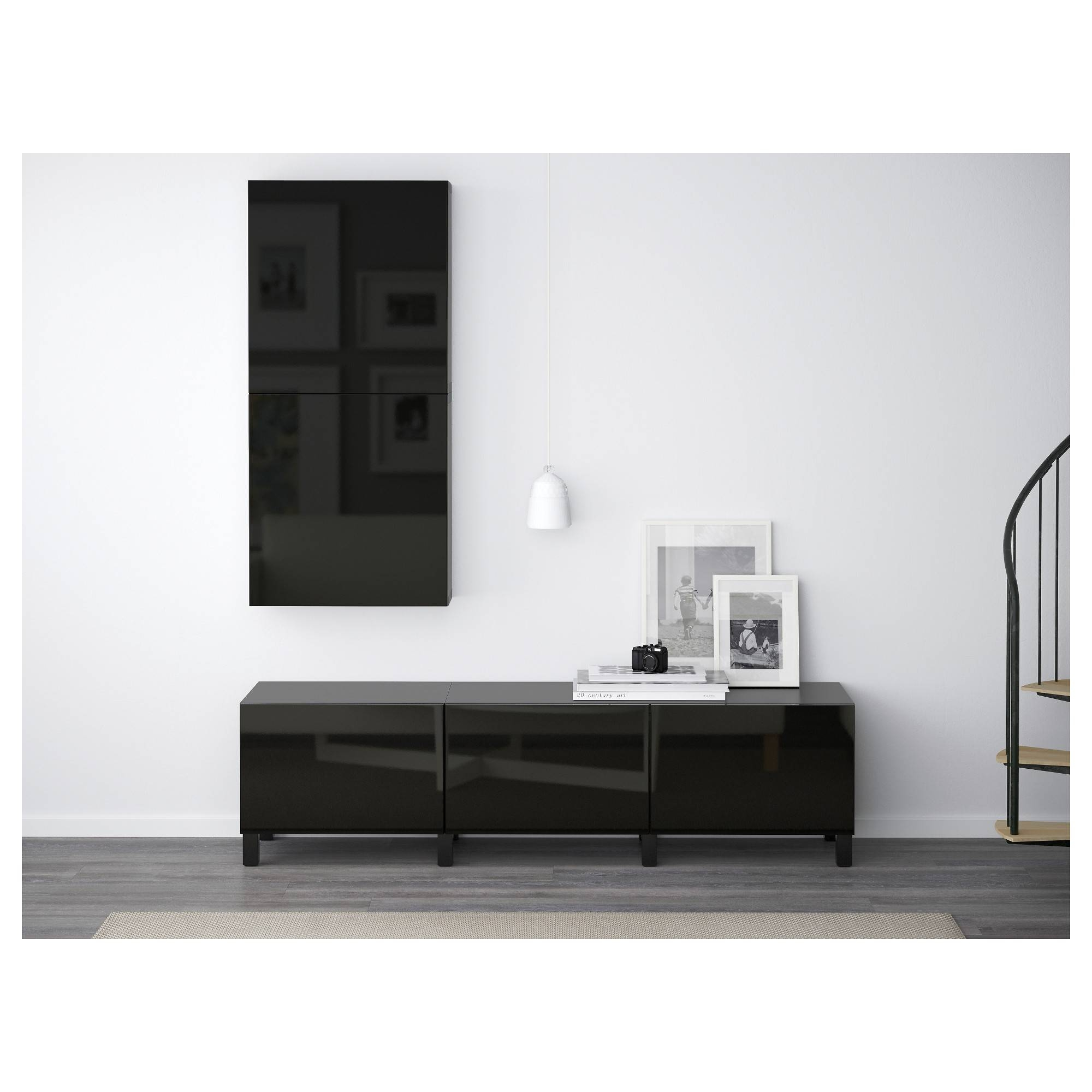 Bestå Wall Cabinet With 2 Doors Black-Brown/selsviken High-Gloss for High Gloss Black Sideboards (Image 3 of 30)