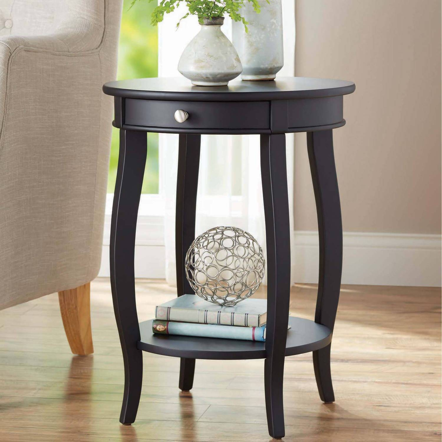Better Homes And Gardens Round Accent Table With Drawer, Multiple with Round Coffee Tables With Drawer (Image 3 of 30)