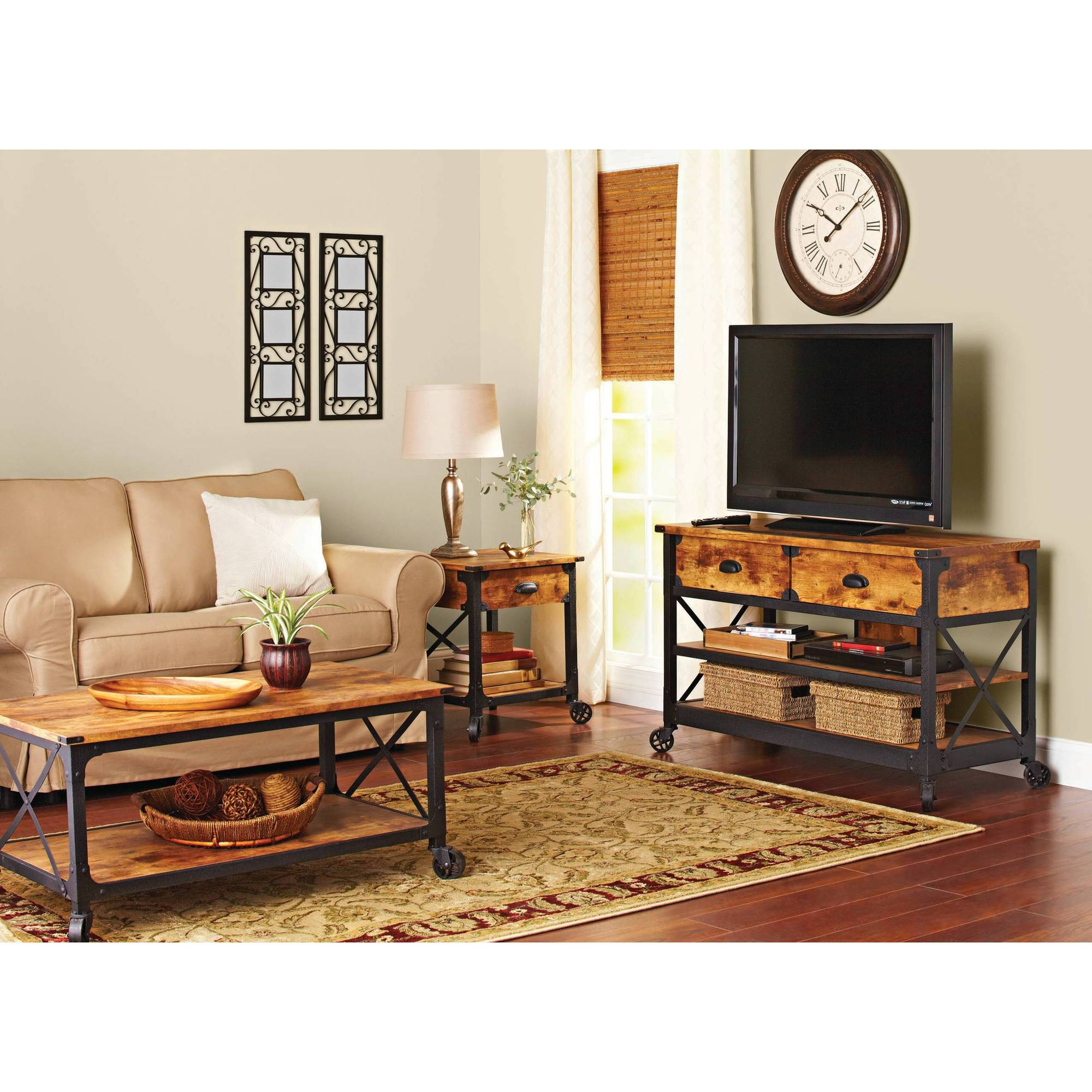Better Homes And Gardens Rustic Country Antiqued Black/pine Panel with Matching Tv Unit and Coffee Tables (Image 6 of 30)