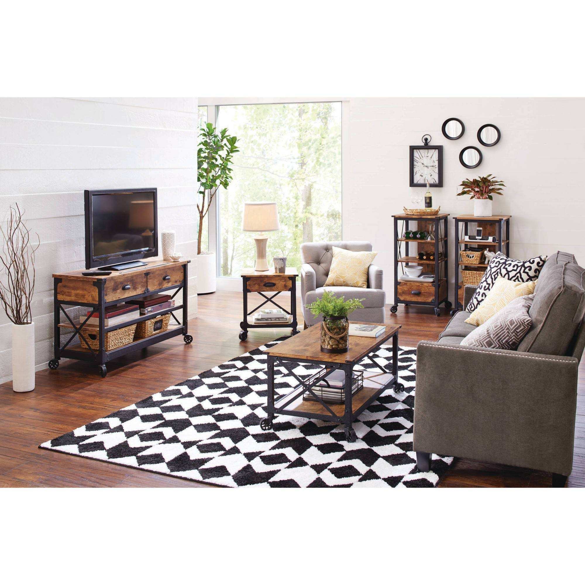 Better Homes And Gardens Rustic Country Antiqued Black/pine Panel within Rustic Coffee Tables and Tv Stands (Image 1 of 30)