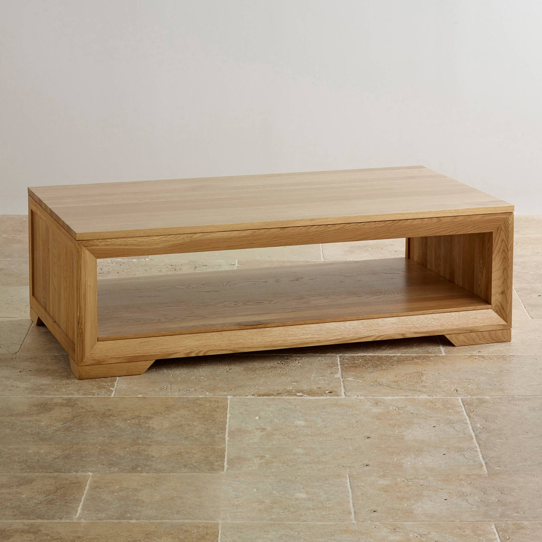 Bevel Coffee Table In Solid Oak | Oak Furniture Land | Coffee for Light Oak Coffee Tables With Drawers (Image 3 of 30)