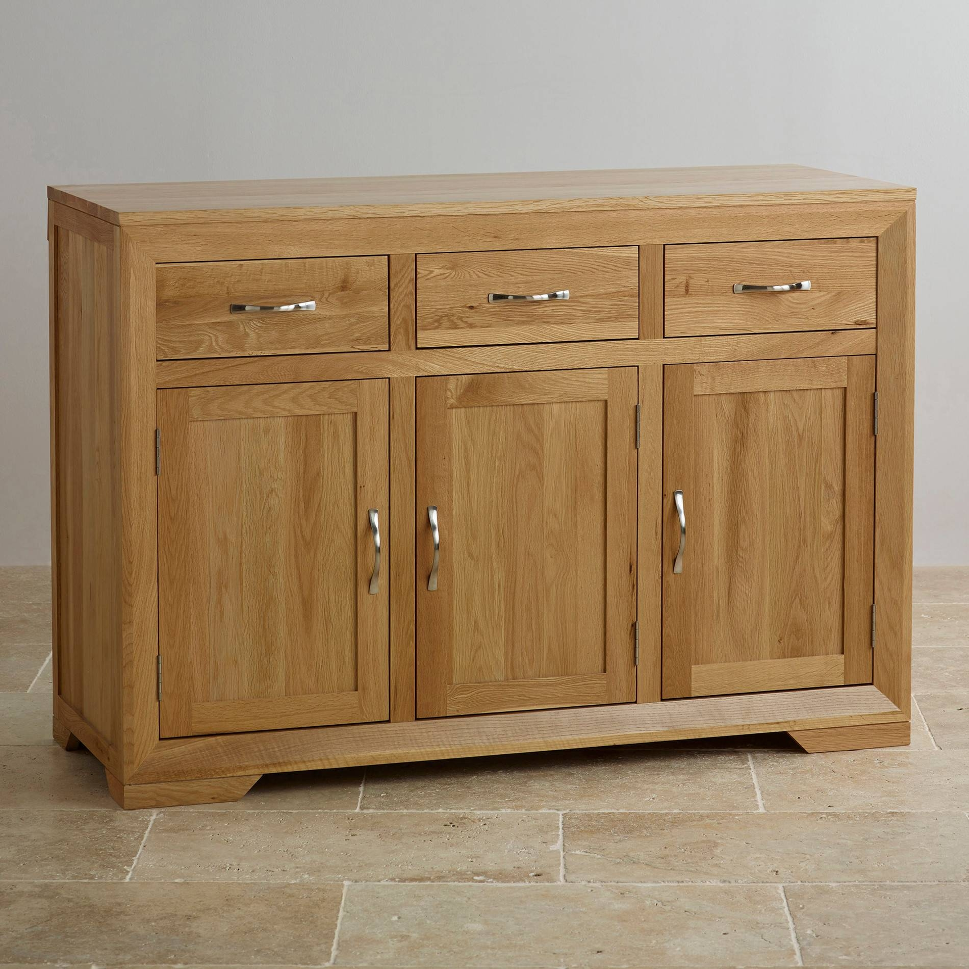 Bevel Natural Solid Oak Large Sideboard | Oak Furniture Land regarding Small Sideboards For Sale (Image 2 of 30)