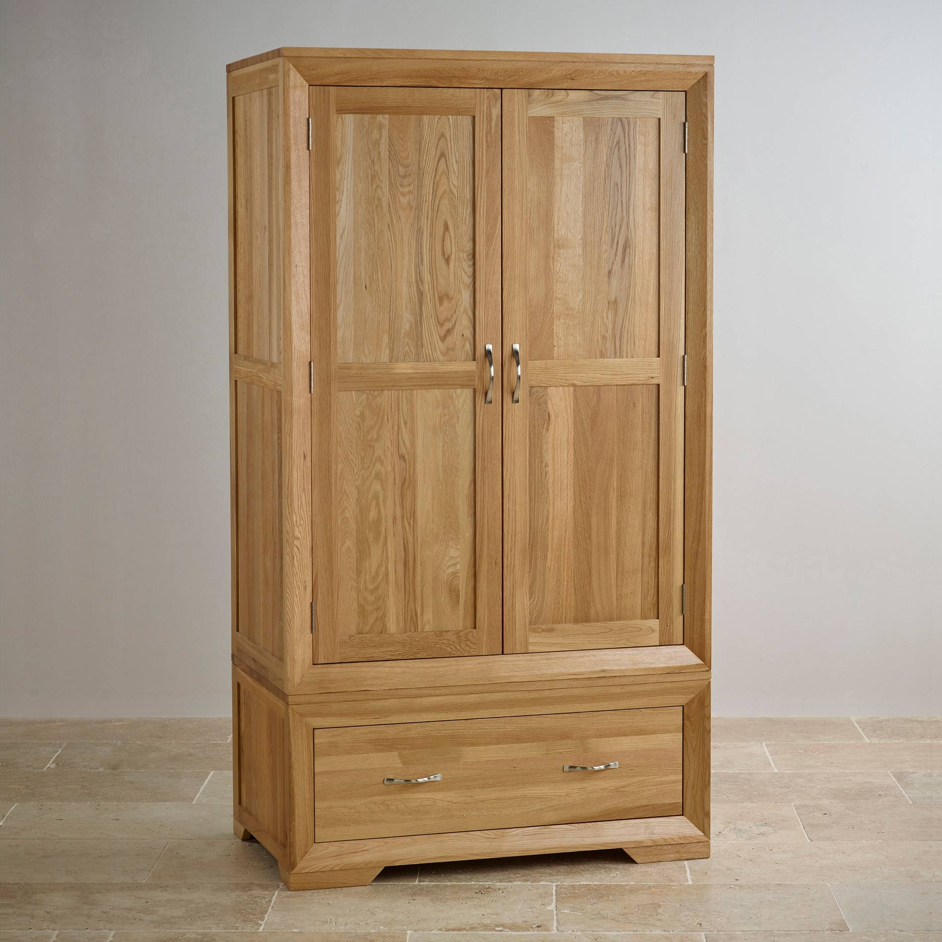 Bevel Natural Solid Oak Wardrobe | Bedroom Furniture within Oak Wardrobes (Image 2 of 15)