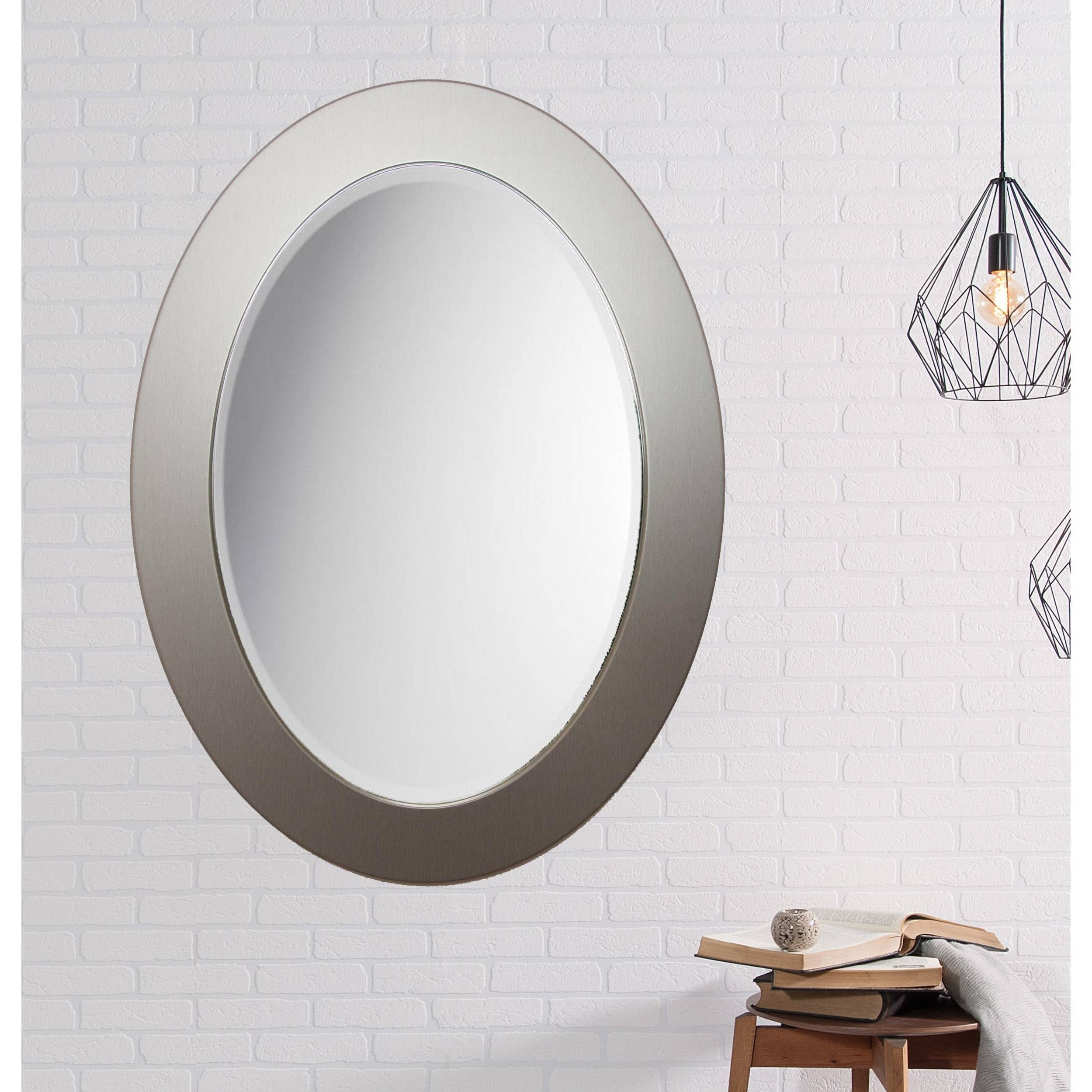Beveled Brushed Silver Oval Wall Mirror regarding Silver Oval Wall Mirrors (Image 6 of 25)