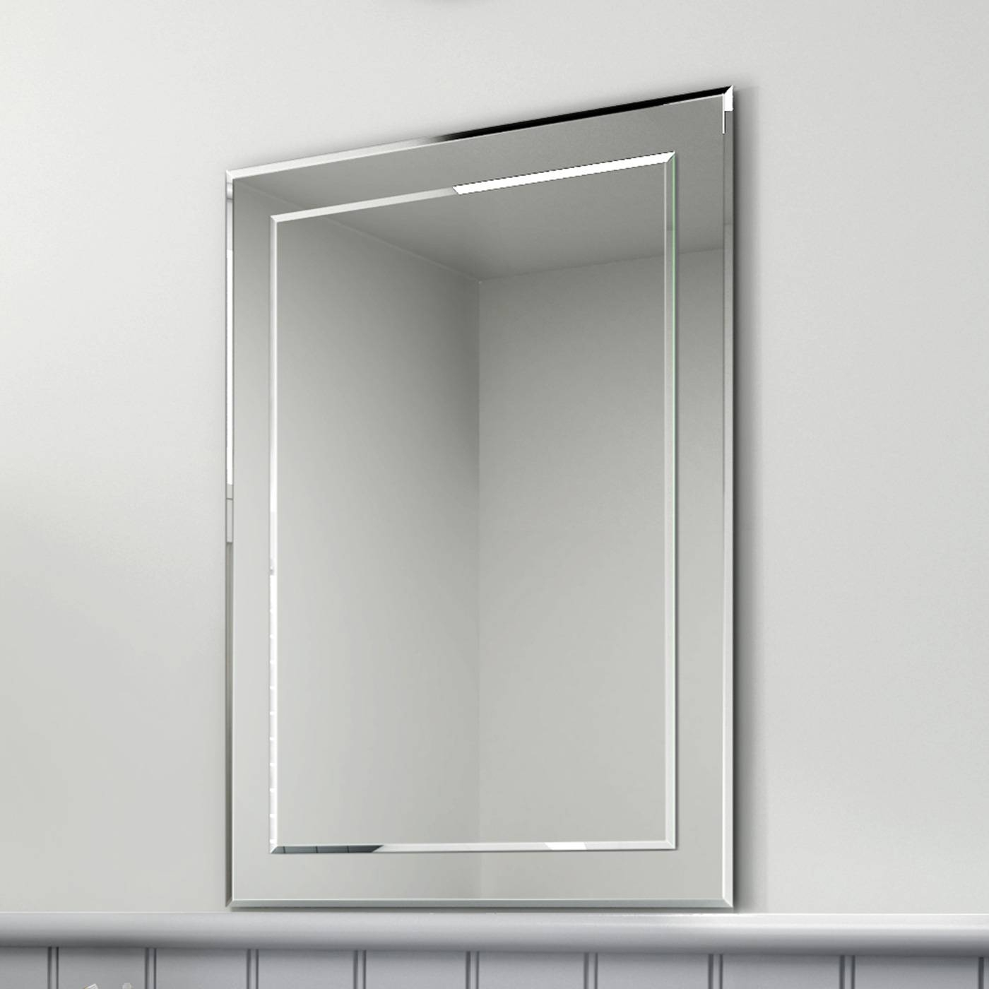 Bevelled And Plain Bathroom Mirrors Glass Shelves | Vertical Pertaining To Bevelled Mirrors Glass (View 4 of 25)