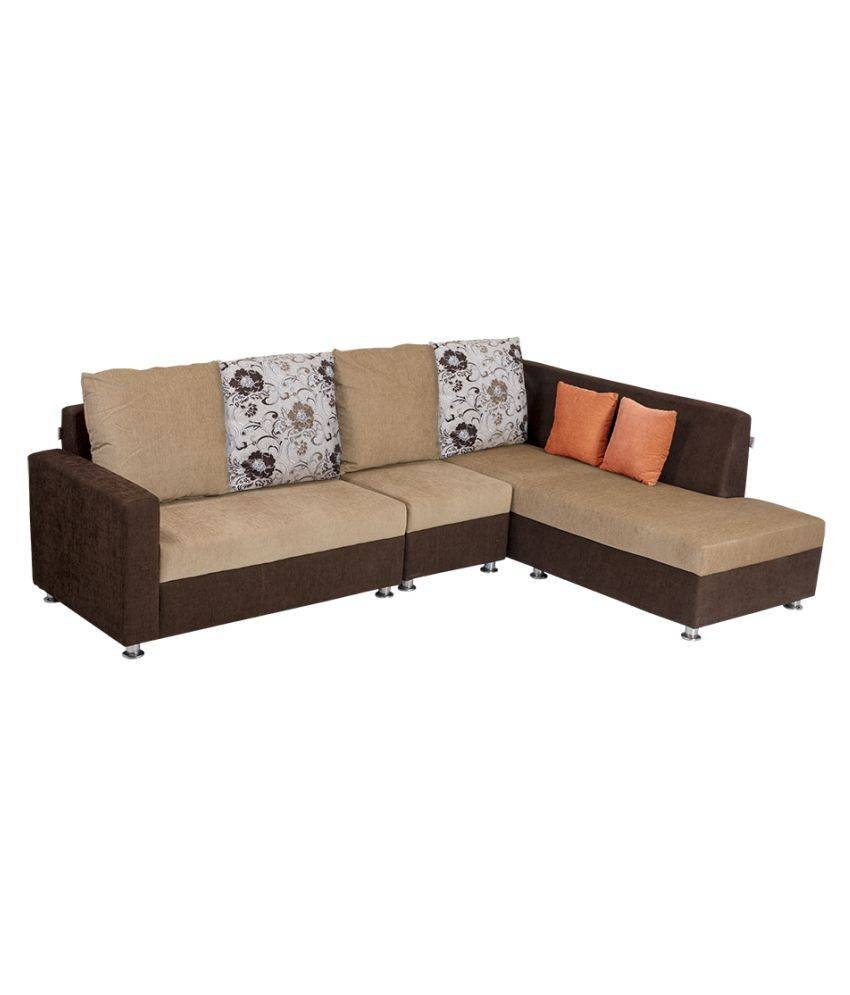 Bharat Lifestyle Nano L-Shape Cream & Brown Fabric Sofa Set 2+1+D pertaining to L Shaped Fabric Sofas (Image 6 of 30)