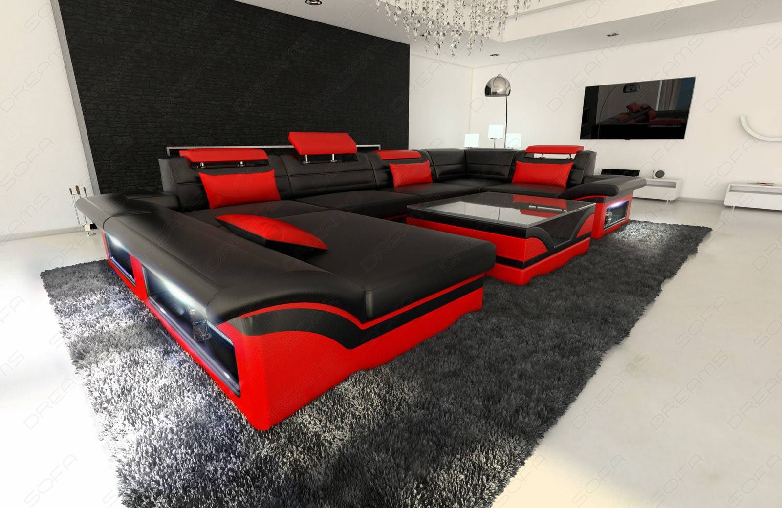 Big Leather Sofa Enzo With Led Lights Black Red | Ebay Pertaining To Sofa Red And Black (View 7 of 25)