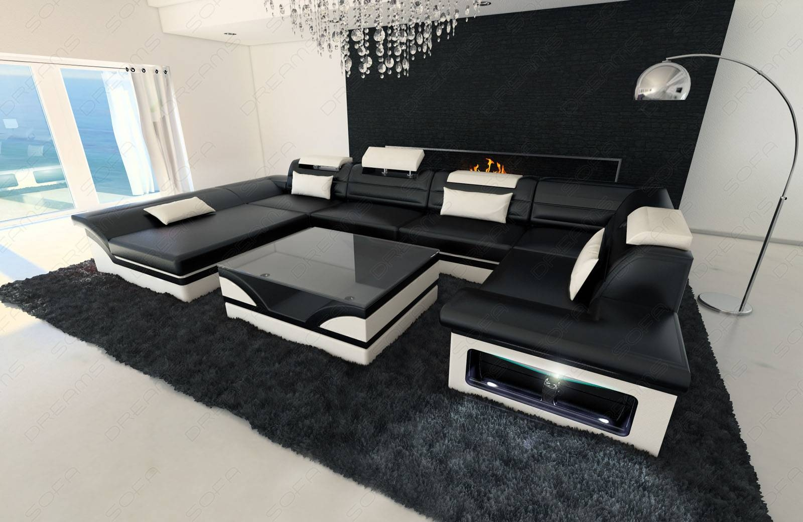 Big Leather Sofa Enzo With Led Lights Black White | Ebay pertaining to Sofas With Lights (Image 3 of 30)