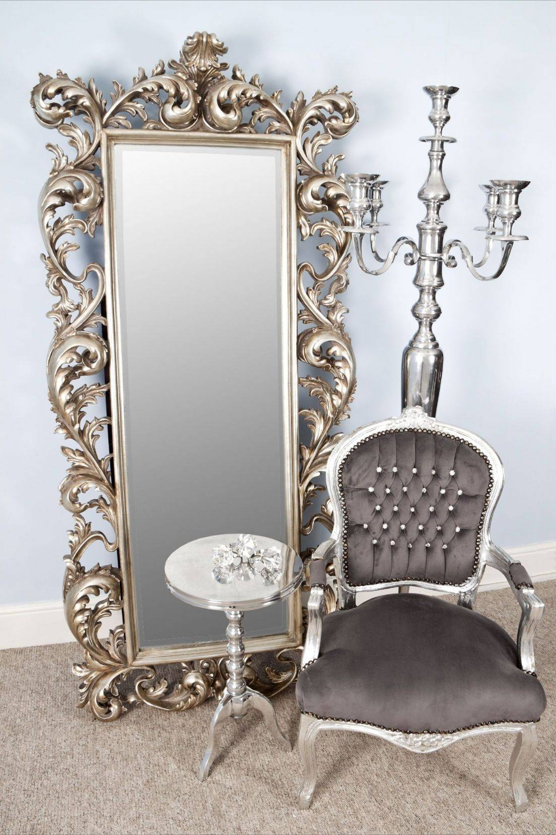Big Silver Framed Mirror | Vanity Decoration for Big Silver Mirrors (Image 7 of 25)