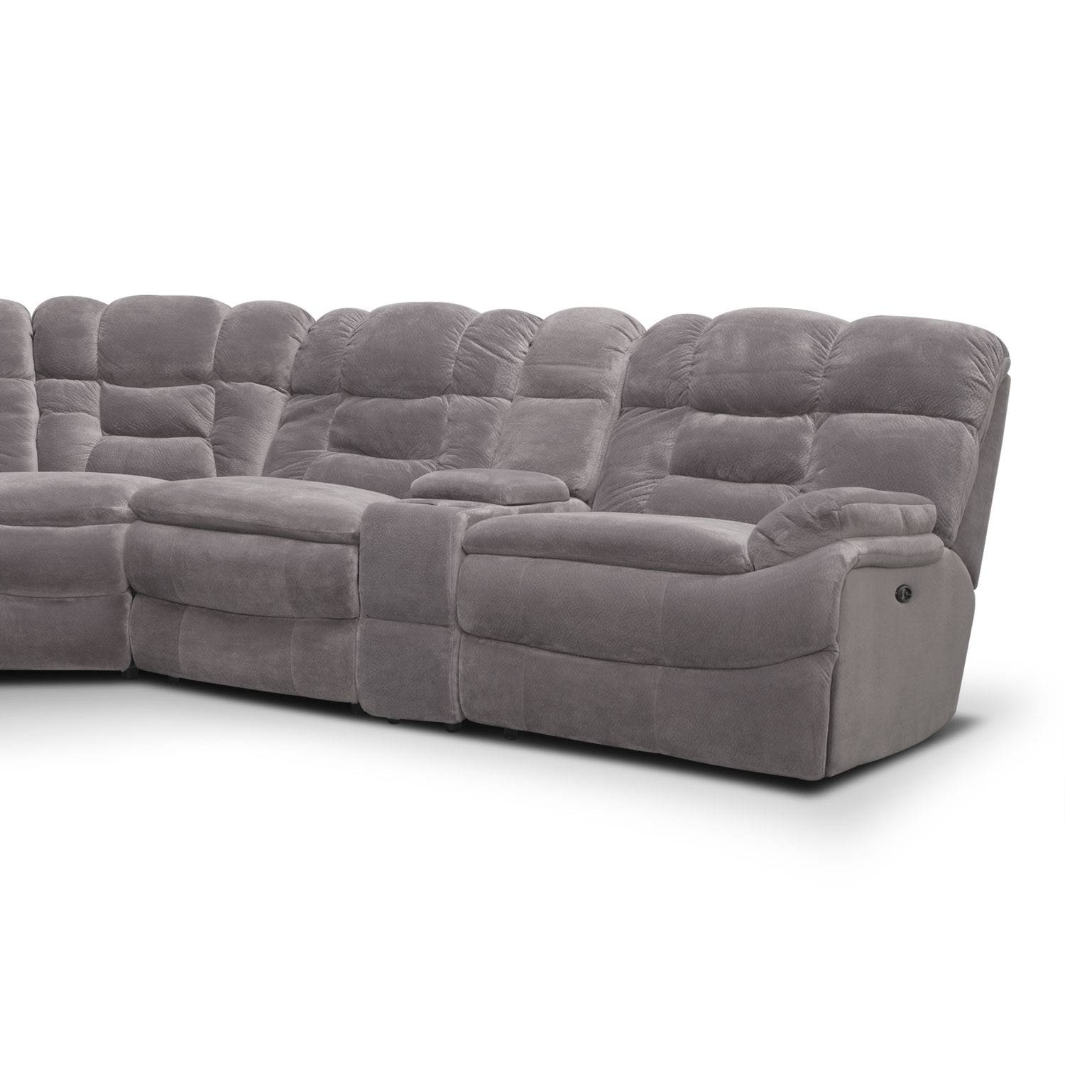 Big Softie 6-Piece Power Reclining Sectional - Gray | Value City in 6 Piece Leather Sectional Sofa (Image 10 of 30)