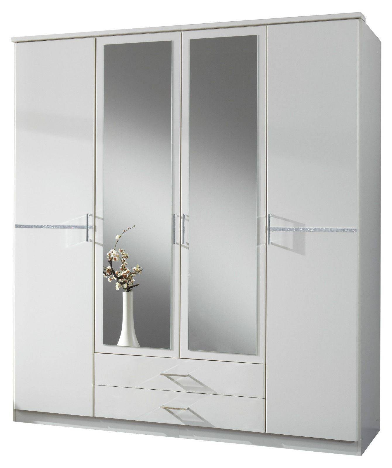 Bijoux German 4 Door Wardrobe White Crystal Rhinestone Bling intended for 4 Door Wardrobes With Mirror and Drawers (Image 3 of 15)