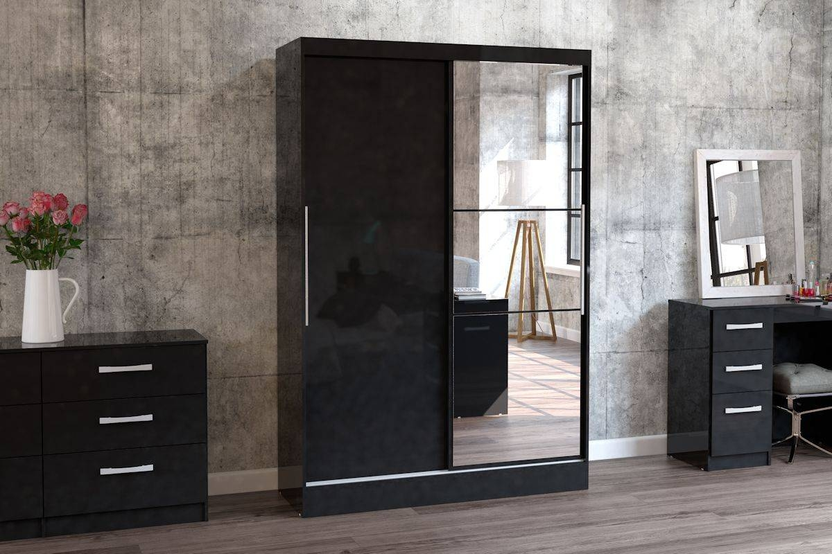 Birlea Lynx 2 Door Sliding Wardrobe With Mirror In Black - Beyond intended for Black Gloss Mirror Wardrobes (Image 3 of 15)