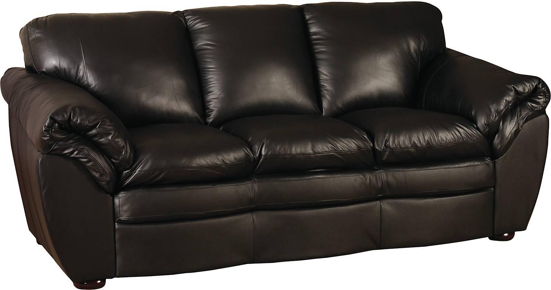 Black 100% Genuine Leather Sofa | The Brick regarding The Brick Leather Sofa (Image 4 of 30)