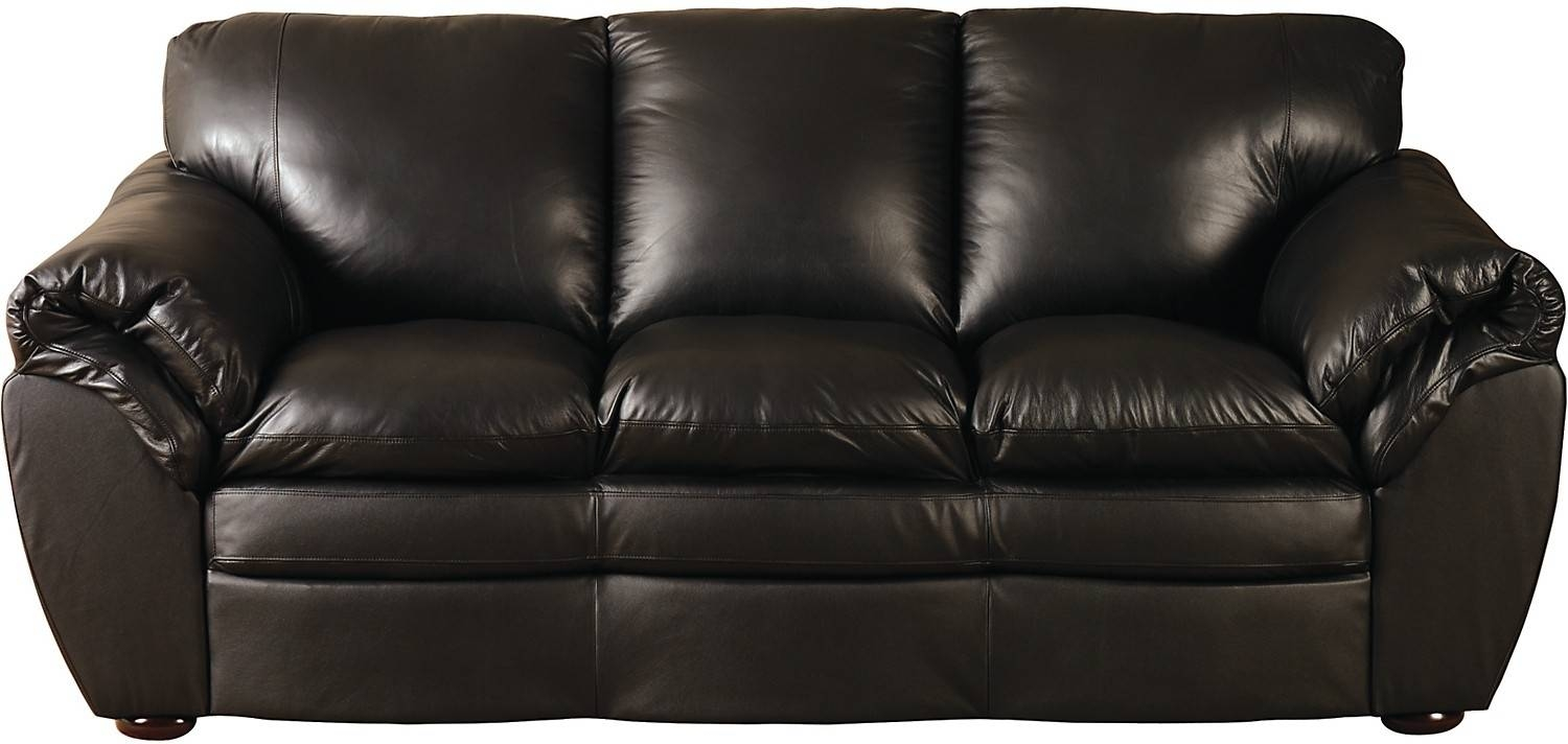 Black 100% Genuine Leather Sofa | The Brick throughout The Brick Leather Sofa (Image 5 of 30)