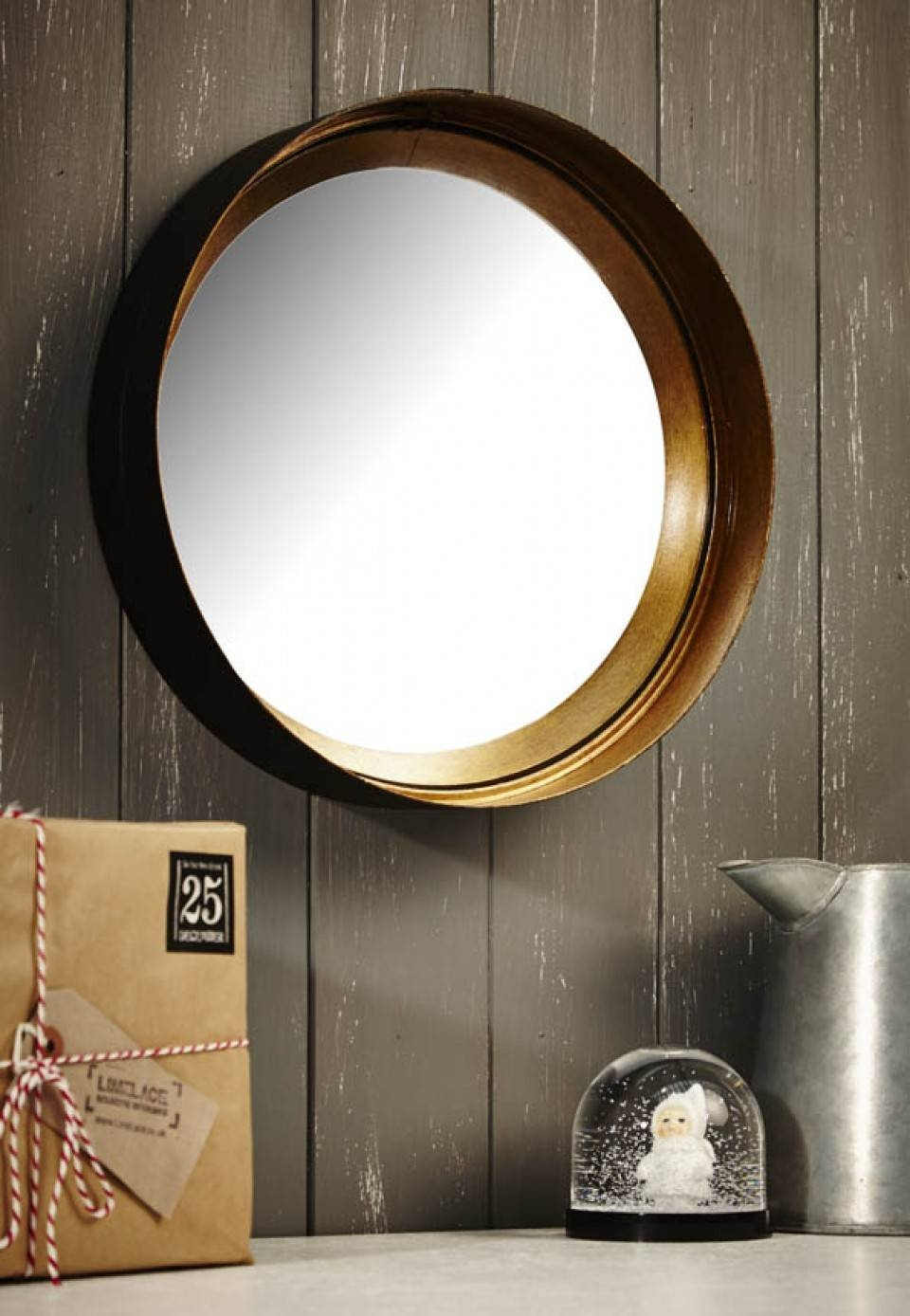 Black And Gold Convex Mirror in Black Convex Mirrors (Image 3 of 25)