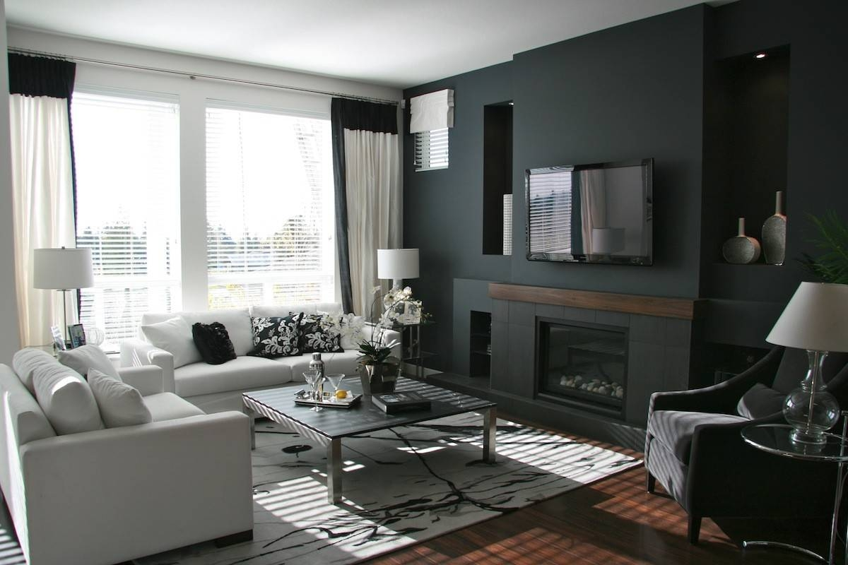 Black And Gold Living Room Grey Floor Colorful Cushions White regarding Dark Wooden Coffee Tables (Image 1 of 30)
