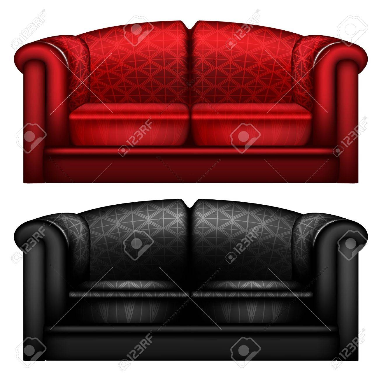 Black And Red Leather Sofa Isolated Stock Photo, Picture And inside Sofa Red And Black (Image 9 of 25)