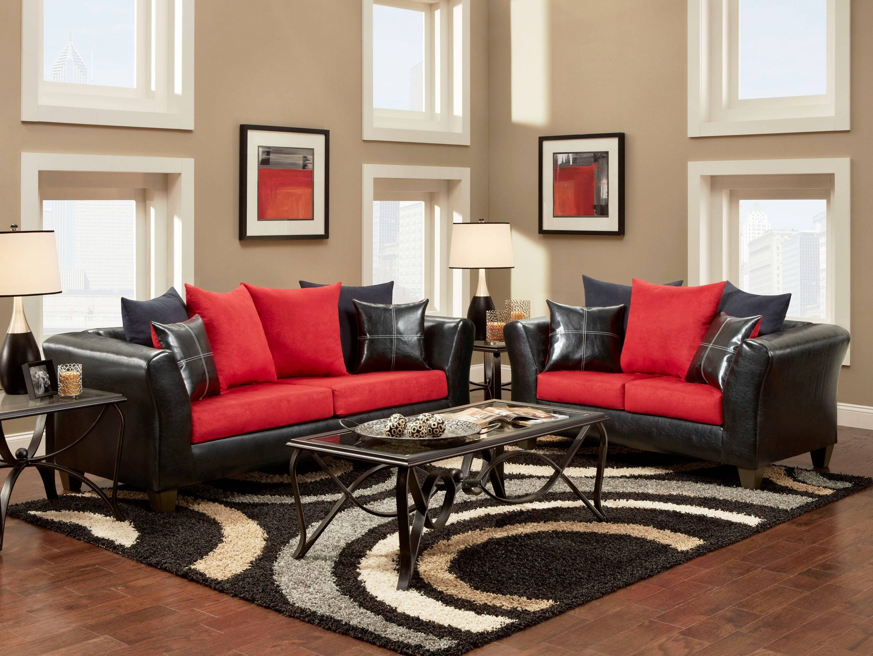 Black And Red Living Room Decor Electric Fireplace Round Coffee pertaining to Red Round Coffee Tables (Image 2 of 30)