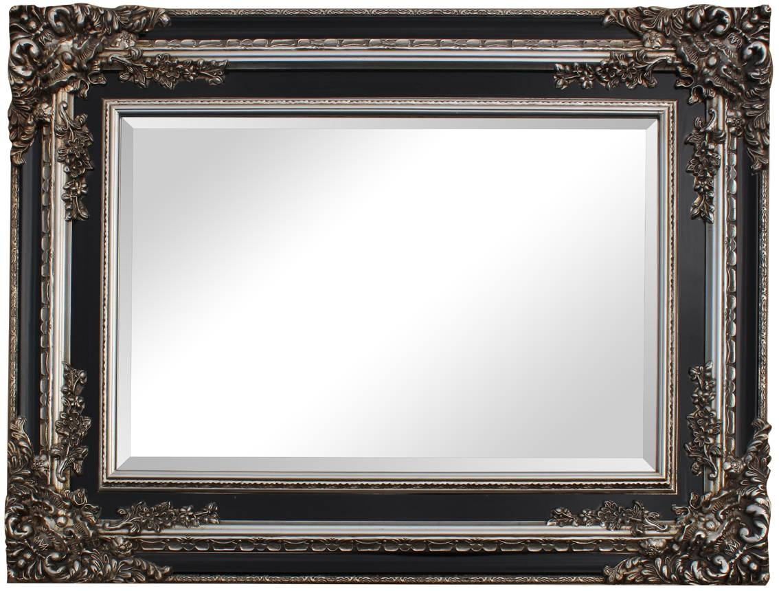 Black And Silver Ornate Timber Frame - Onegreatgift intended for Silver Ornate Framed Mirrors (Image 5 of 25)
