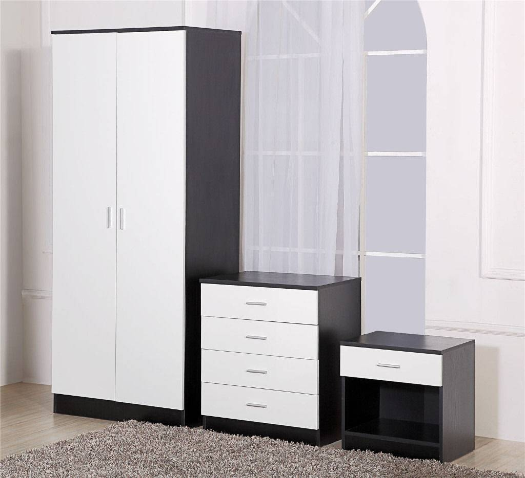 Black And White High Gloss Wardrobe/4 Drawer Chest/bedside Cabinet For Black Wardrobes With Drawers (View 1 of 15)