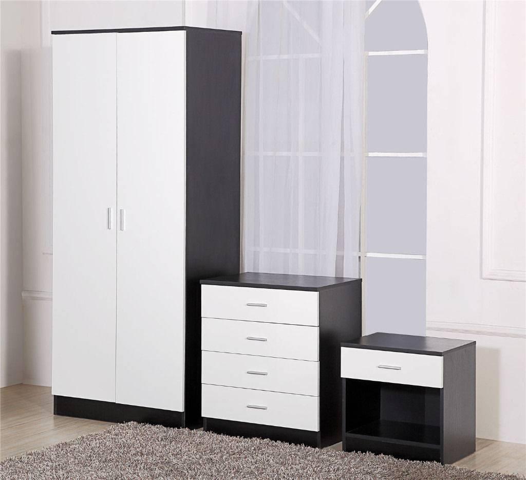 Black And White High Gloss Wardrobe/4 Drawer Chest/bedside Cabinet with White High Gloss Wardrobes (Image 1 of 15)