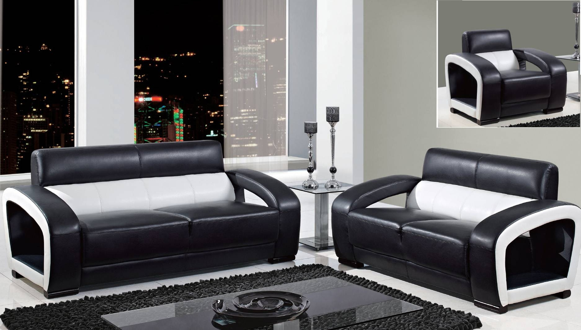 Black And White Leather Sofa With Ideas Gallery 10356 | Kengire with regard to Black And White Sofas (Image 6 of 30)