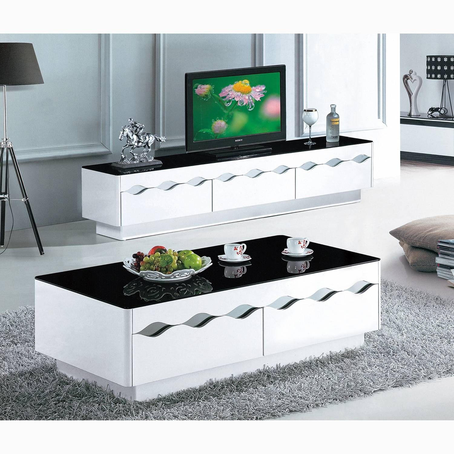 Black And White Paint Glass Coffee Table Living Room Furniture Tv with Tv Cabinet And Coffee Table Sets (Image 4 of 30)