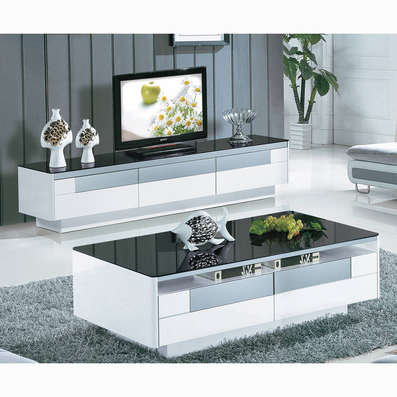 Black And White Tempered Glass Coffee Table Living Room Furniture with Tv Cabinets and Coffee Table Sets (Image 2 of 15)