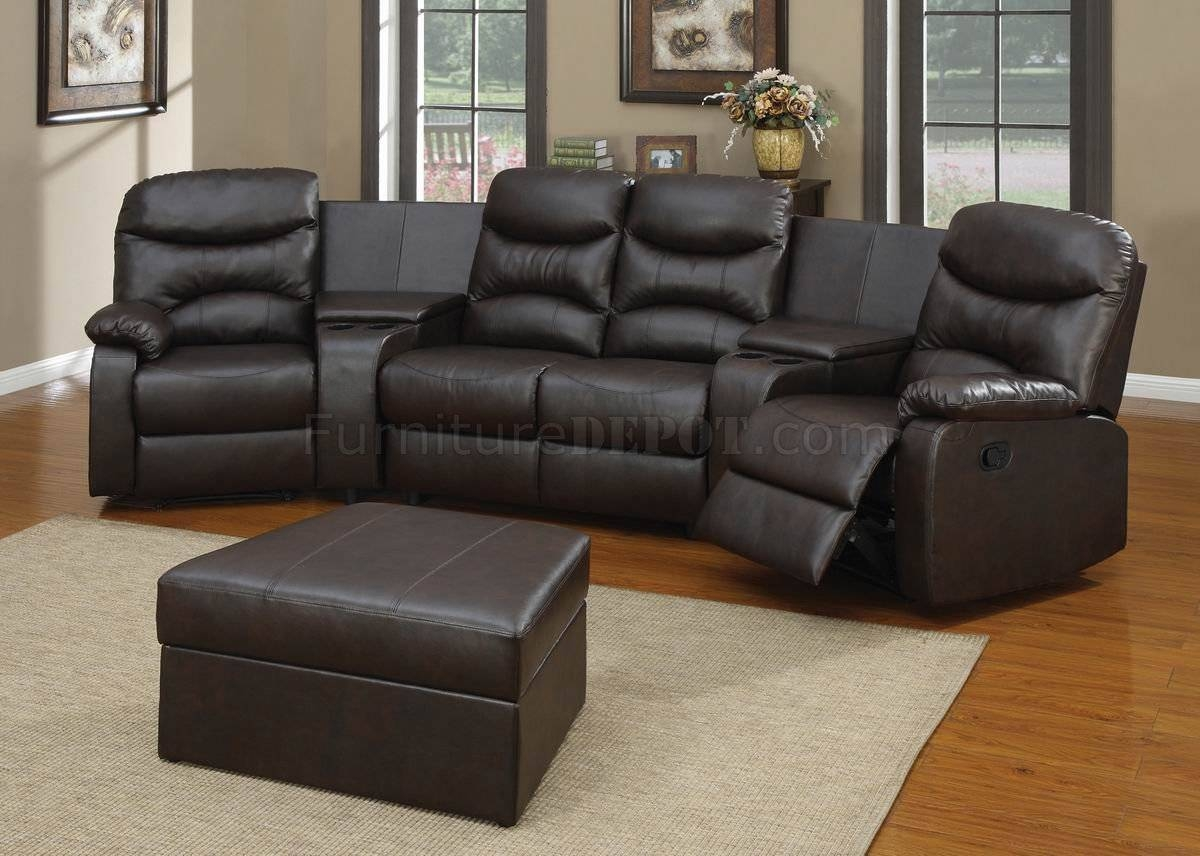 Black Bonded Leather Match Modern Home Theater Sectional Couch within Theatre Sectional Sofas (Image 5 of 30)