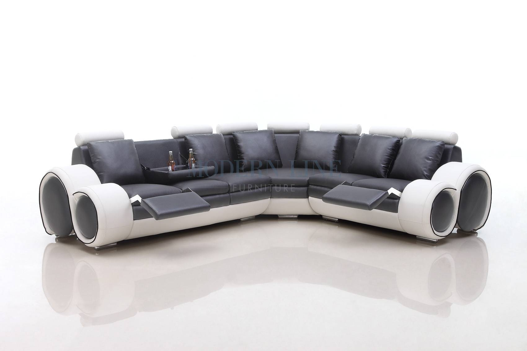 Black Bonded Leather Sectional Sofa With Single Recliner. Medium inside White And Black Sofas (Image 12 of 30)