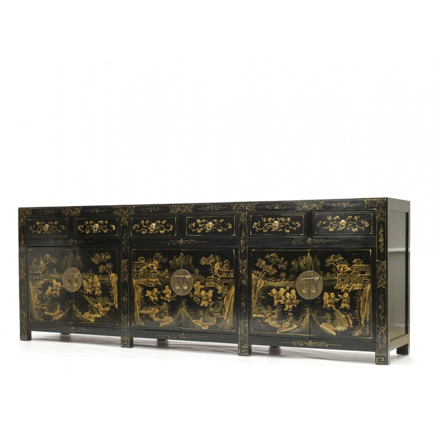 Black Chinoiserie Sideboard | Decorated Oriental Sideboard | Orchid pertaining to Chinoiserie Sideboards (Image 6 of 30)
