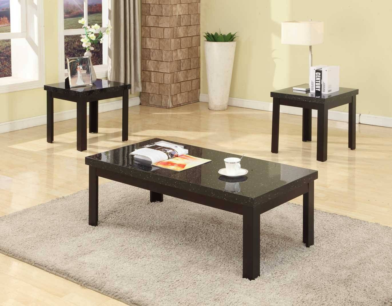 Black Coffee Table And End Table Sets | Coffee Tables Decoration pertaining to Coffee Table With Matching End Tables (Image 2 of 30)