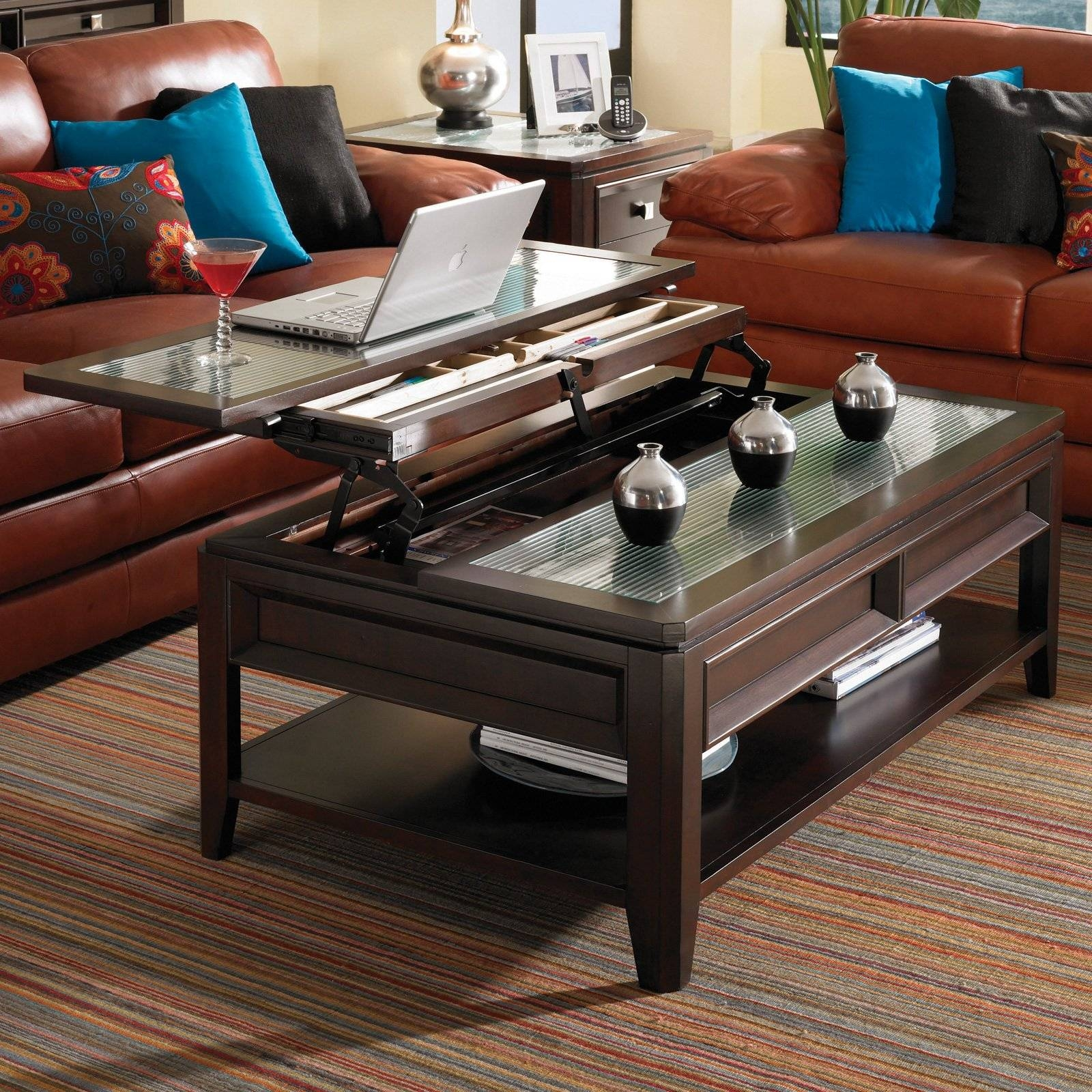 Black Coffee Table With Lift Up Top | Coffee Tables Decoration in Top Lifting Coffee Tables (Image 4 of 30)