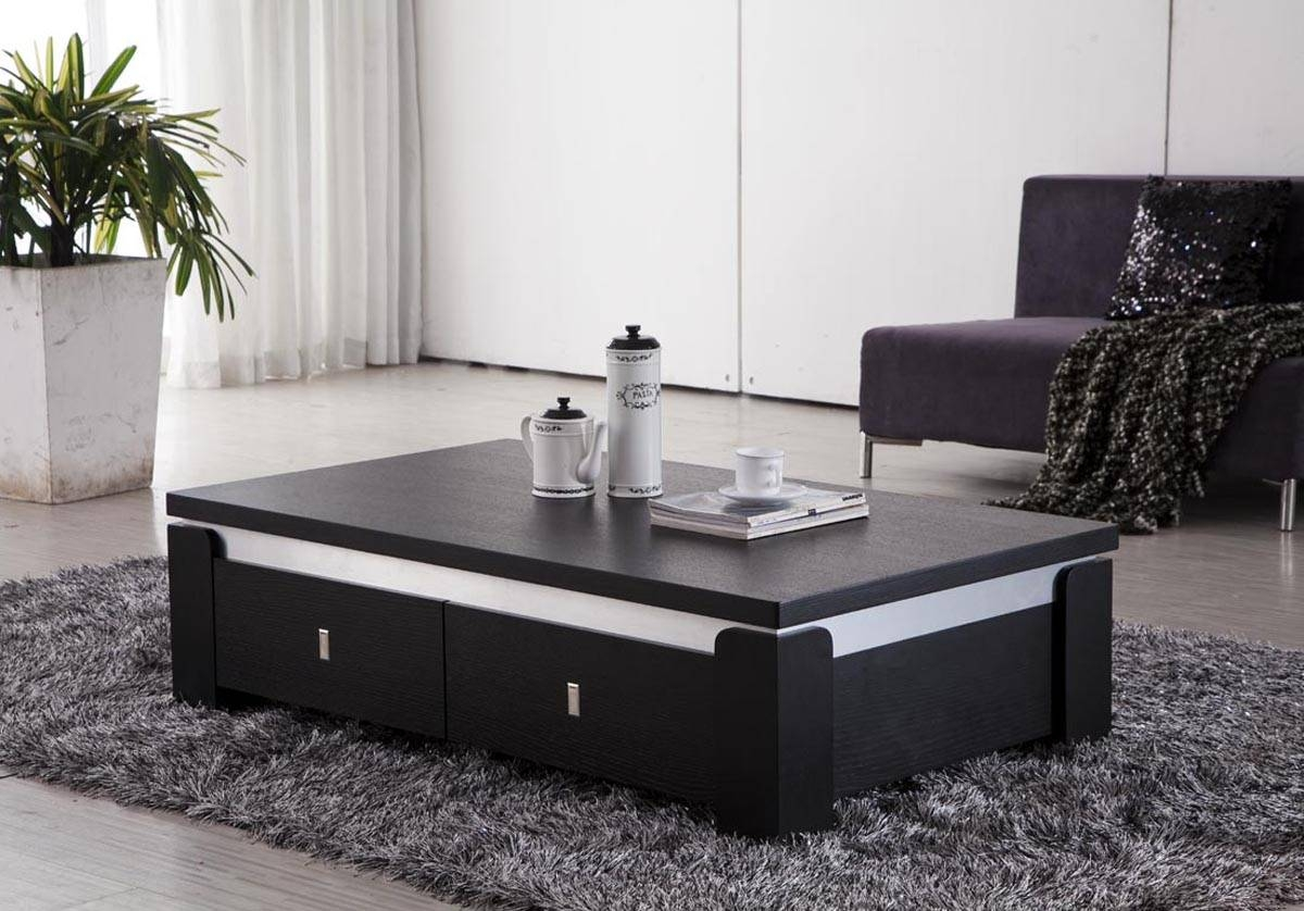 Black Coffee Table With Storage | Coffee Tables Decoration intended for Square Coffee Tables With Storages (Image 1 of 30)