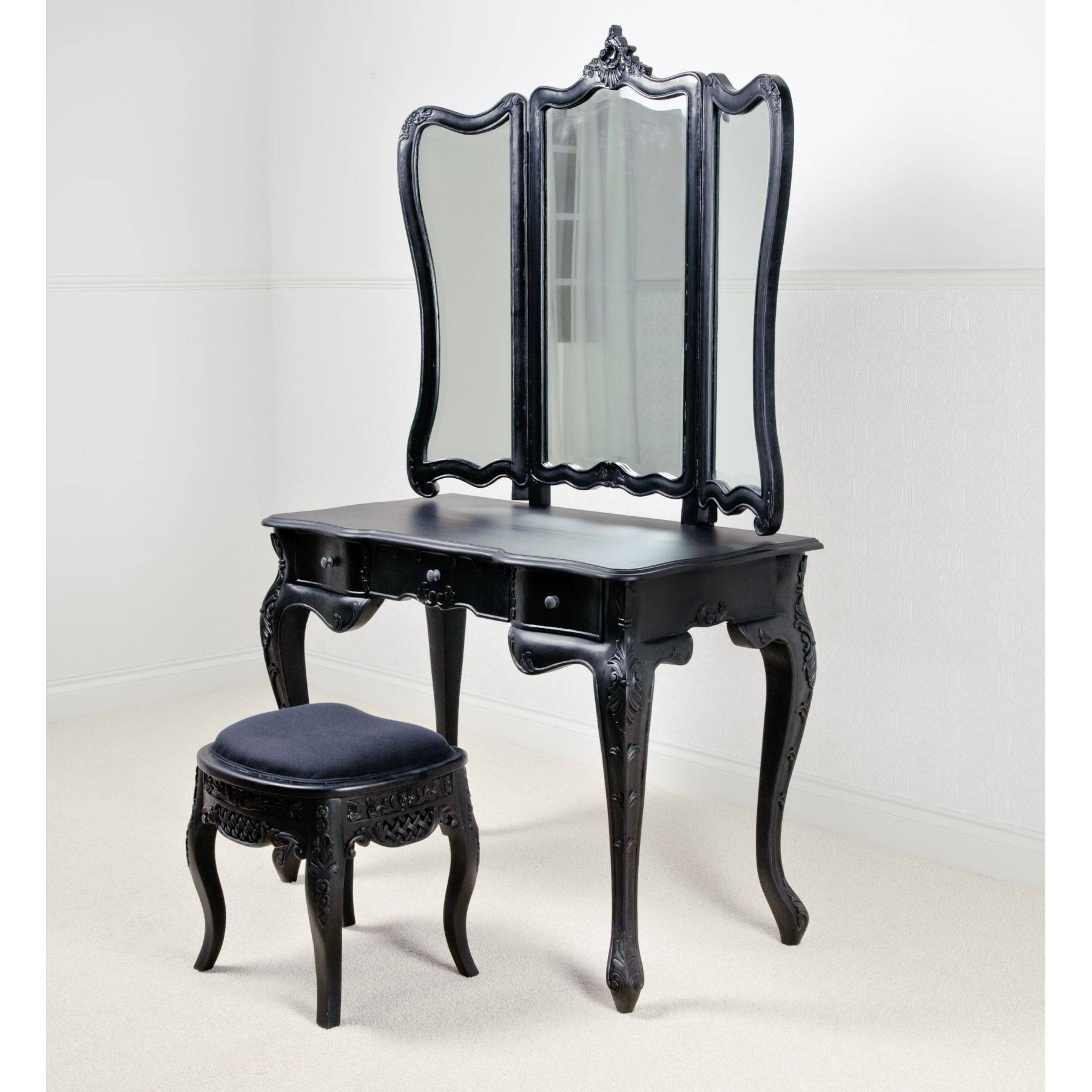 Black Dressing Table Mirror With Drawers | Creative Vanity Decoration within Black Dressing Mirrors (Image 8 of 25)