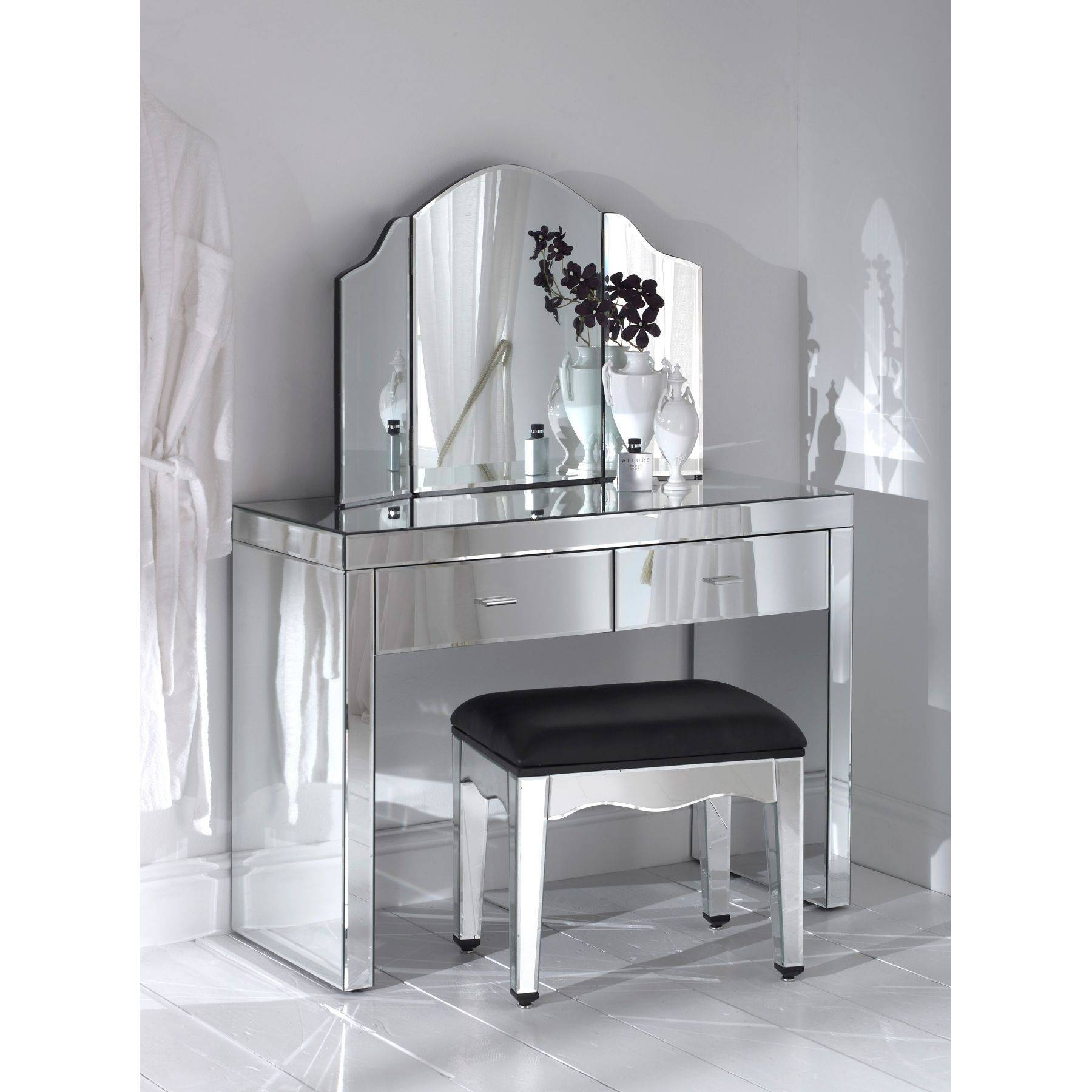 Black Dressing Table With Mirror And Lights | Creative Vanity intended for Small Table Mirrors (Image 3 of 25)