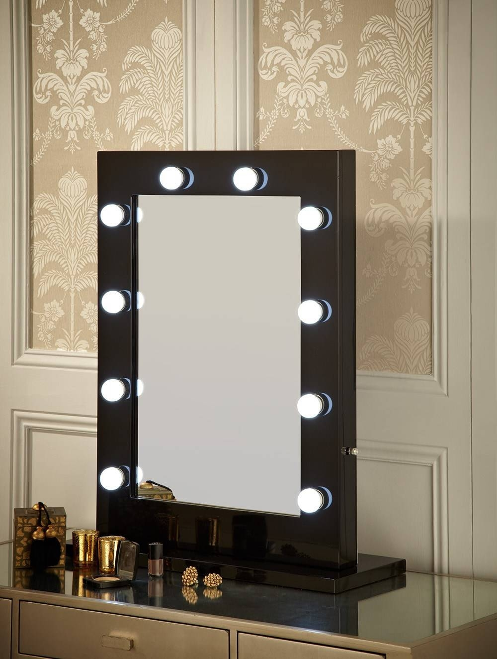 Black Dressing Table With Mirror And Lights | Creative Vanity with Illuminated Dressing Table Mirrors (Image 10 of 25)
