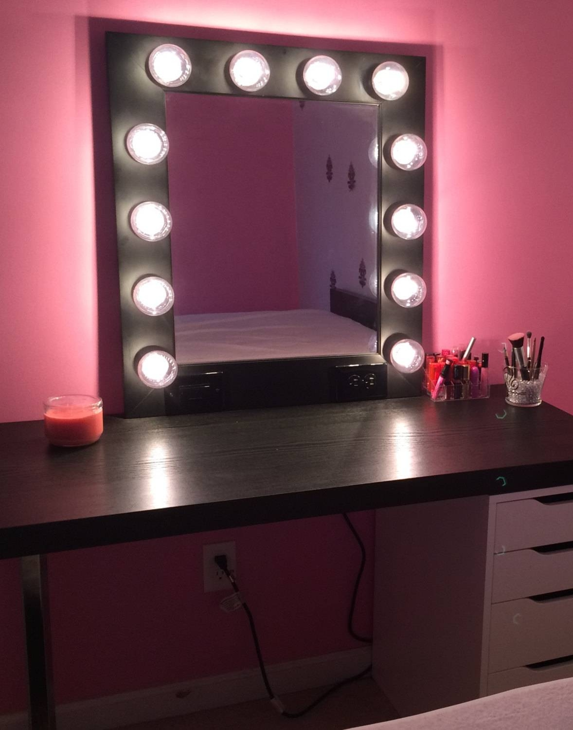 Black Dressing Table With Mirror And Lights | Creative Vanity with regard to Black Dressing Mirrors (Image 10 of 25)